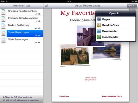 iUnarchive zip on iPad