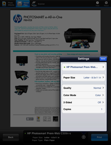 HP printing iPad settings