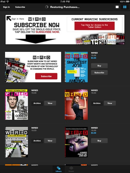 000 wired subscribe on iPad