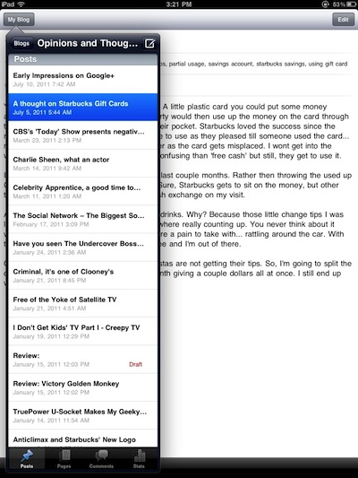 001 WordPress editor for iPad