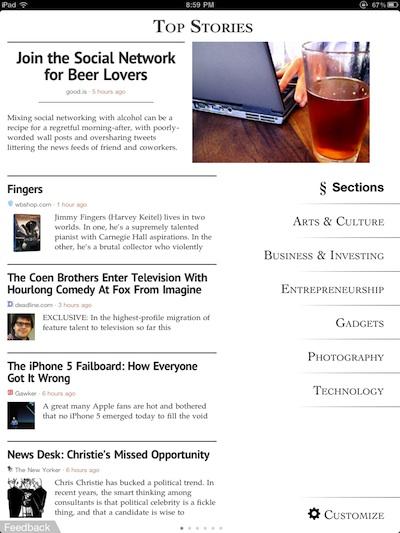 01 zite personalized iPad magazine