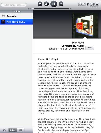 01 Pandora on iPad