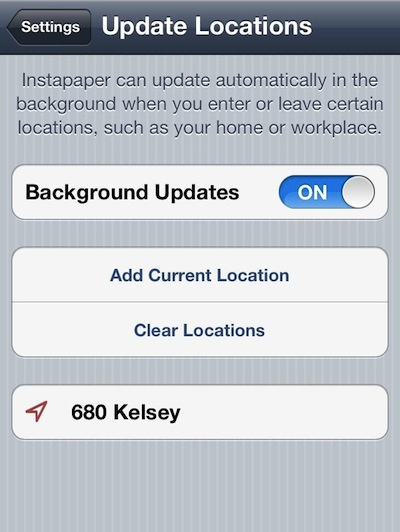 0 instapaper geofence iPhone